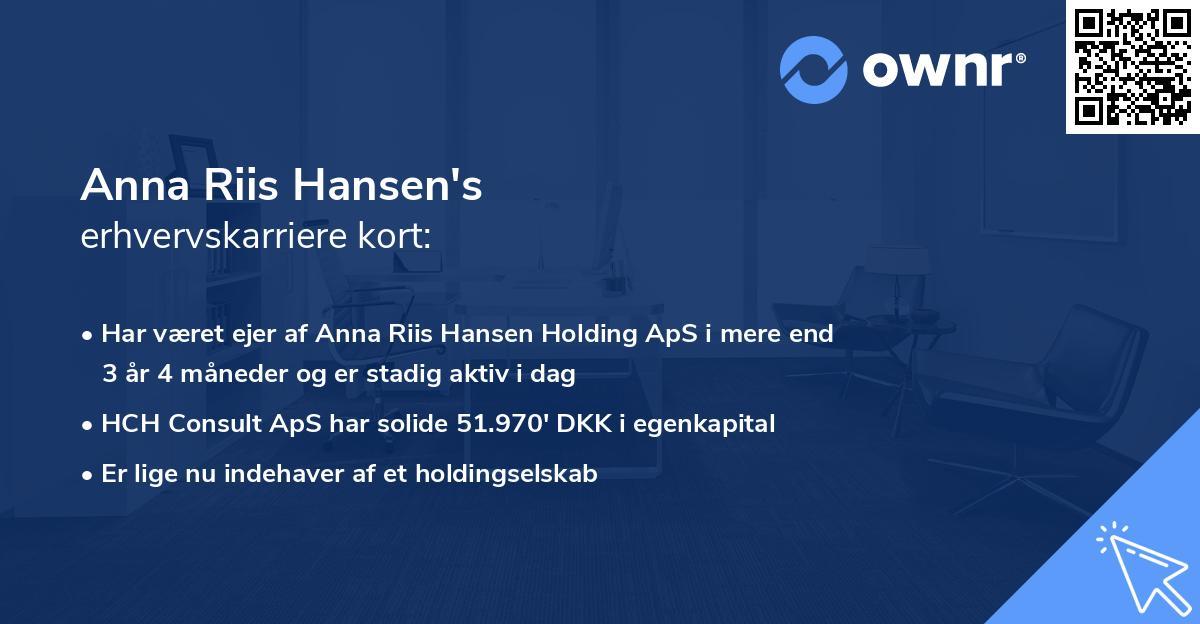 Anna Riis Hansen's erhvervskarriere kort