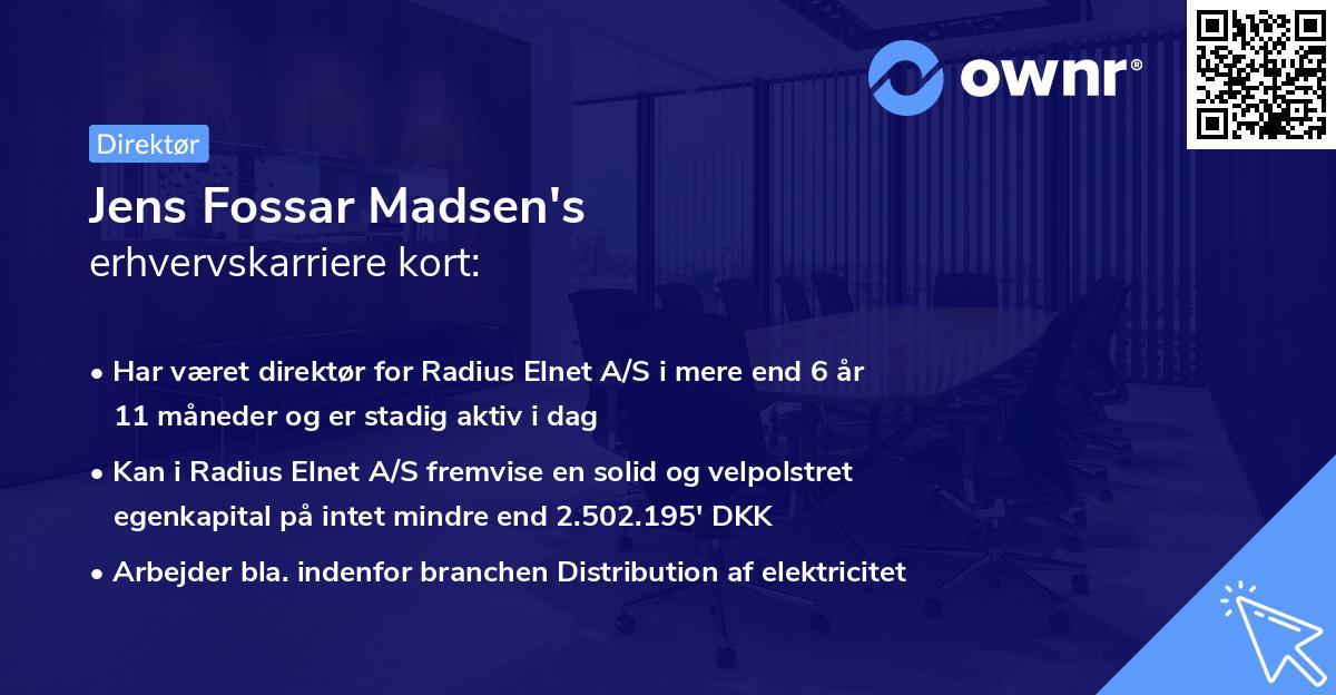 Jens Fossar Madsen's erhvervskarriere kort