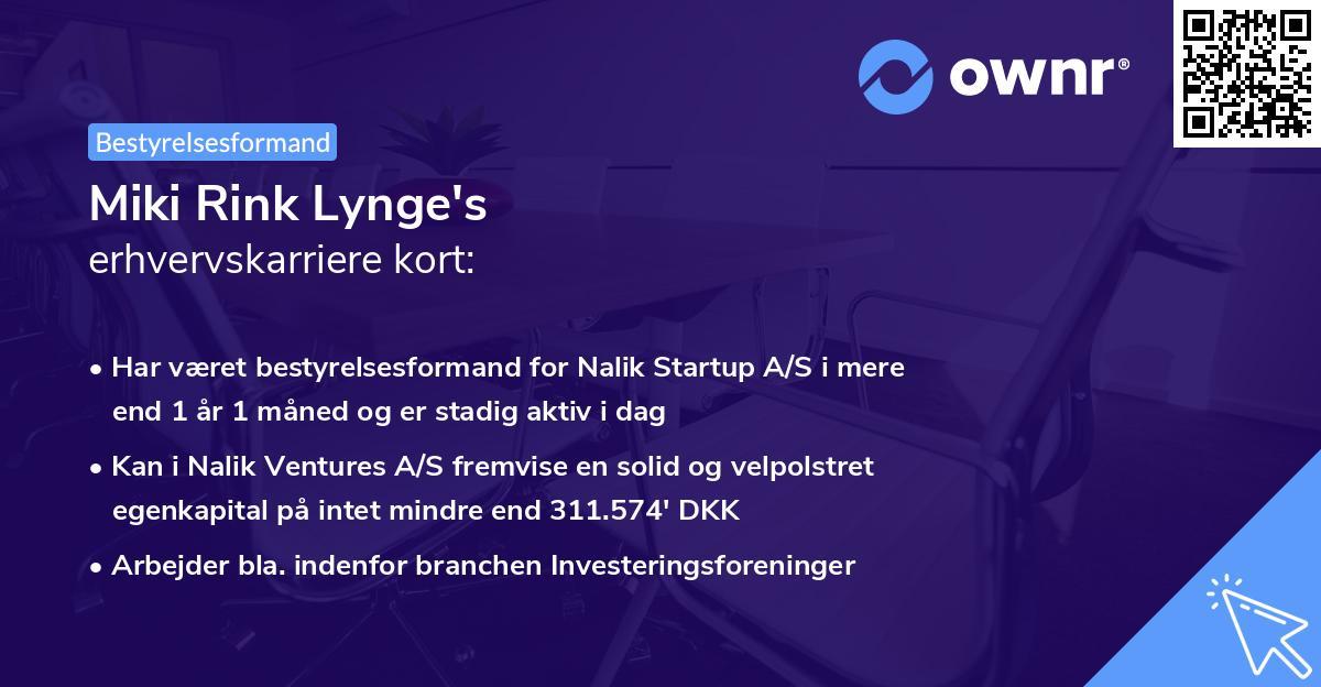Miki Rink Lynge's erhvervskarriere kort