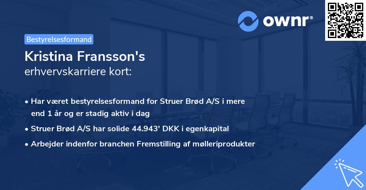 Kristina Fransson's erhvervskarriere kort