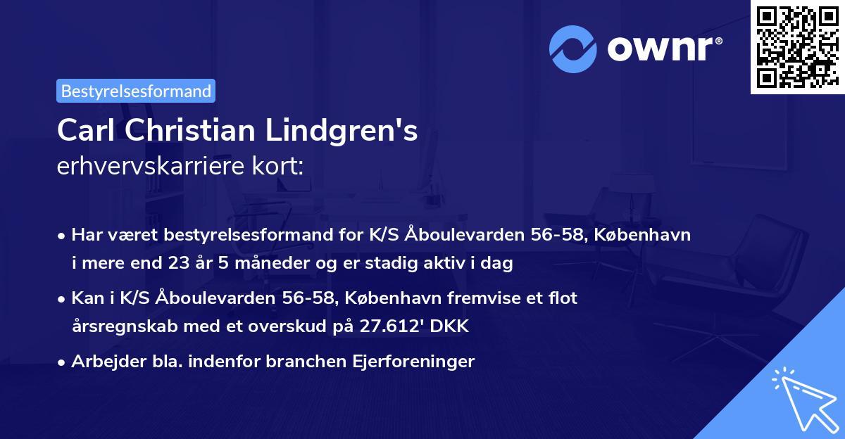Carl Christian Lindgren's erhvervskarriere kort