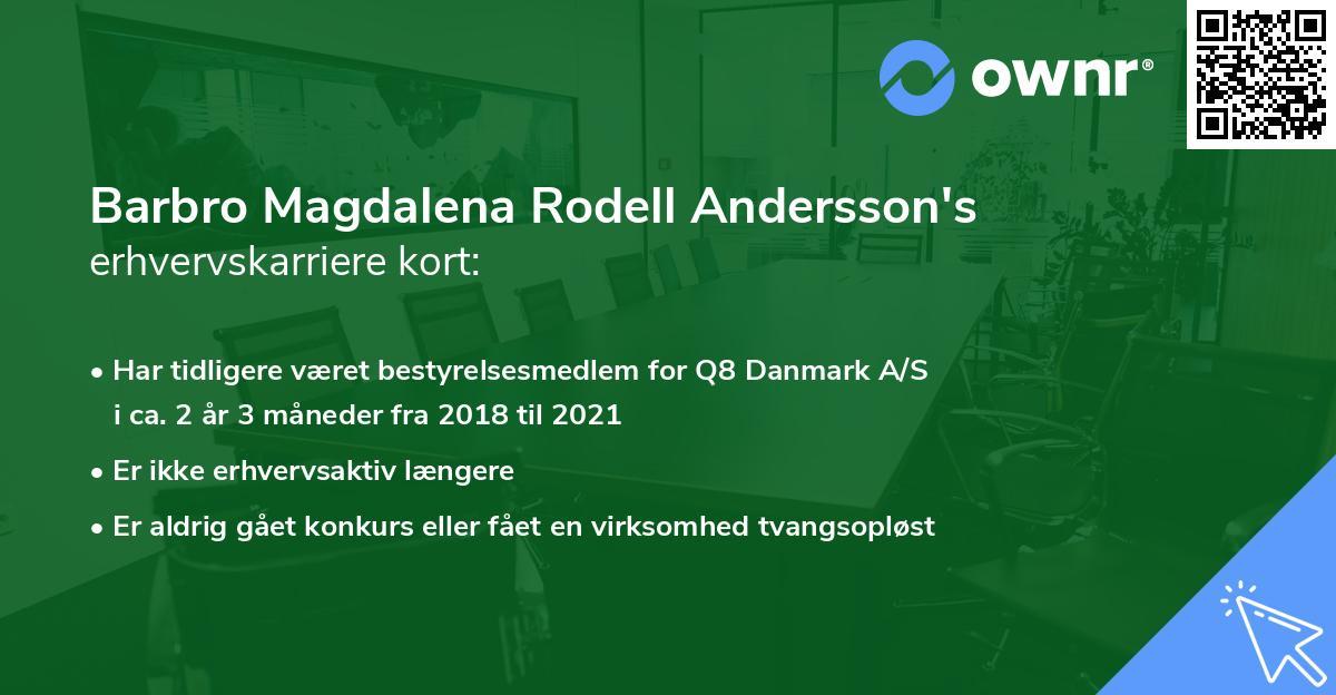 Barbro Magdalena Rodell Andersson's erhvervskarriere kort