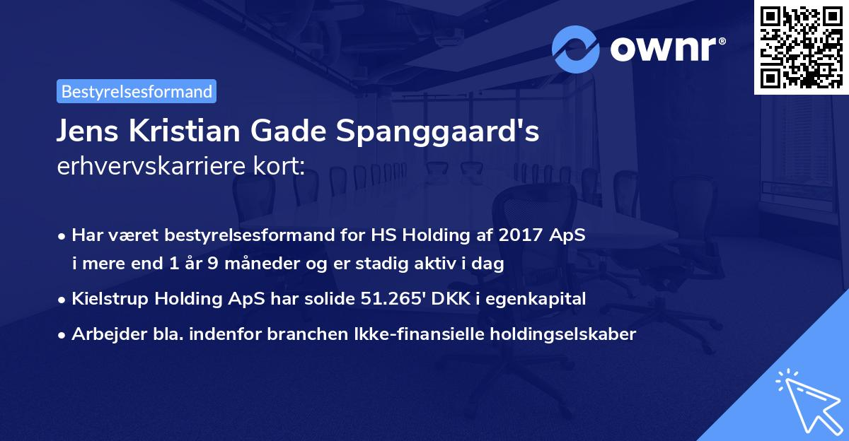 Jens Kristian Gade Spanggaard's erhvervskarriere kort