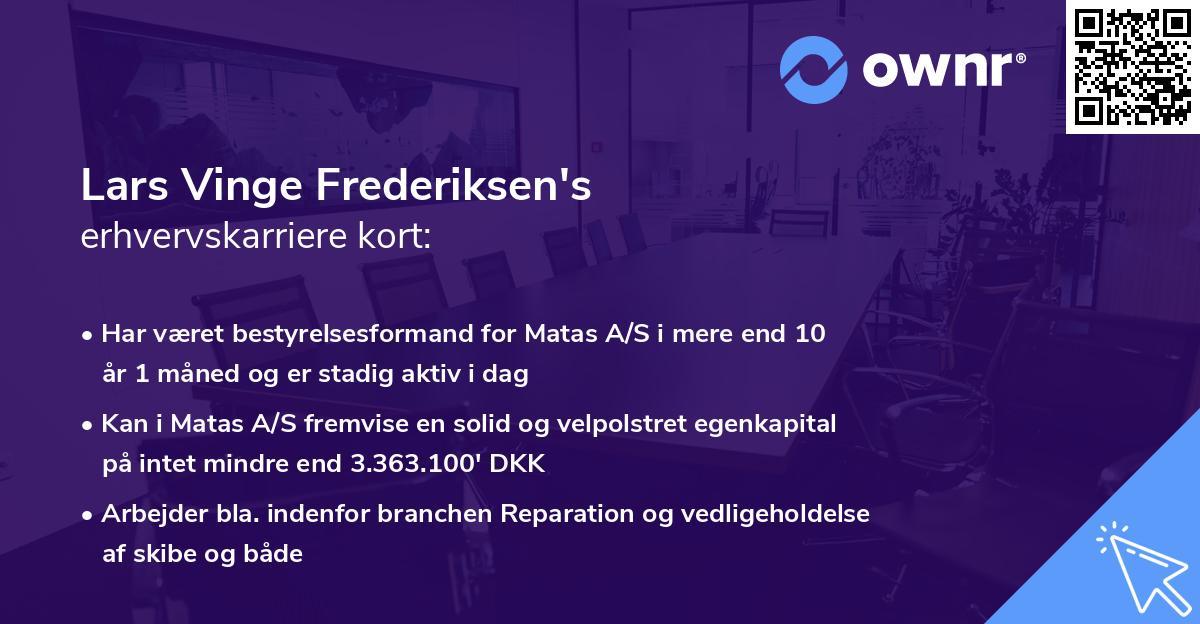 Lars Vinge Frederiksen's erhvervskarriere kort