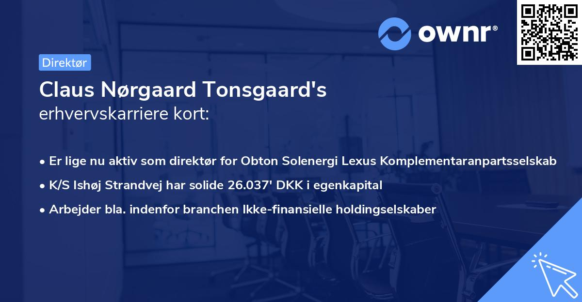 Claus Nørgaard Tonsgaard's erhvervskarriere kort