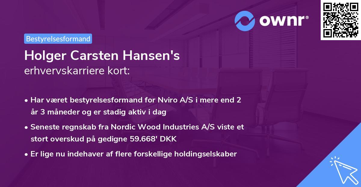 Holger Carsten Hansen's erhvervskarriere kort