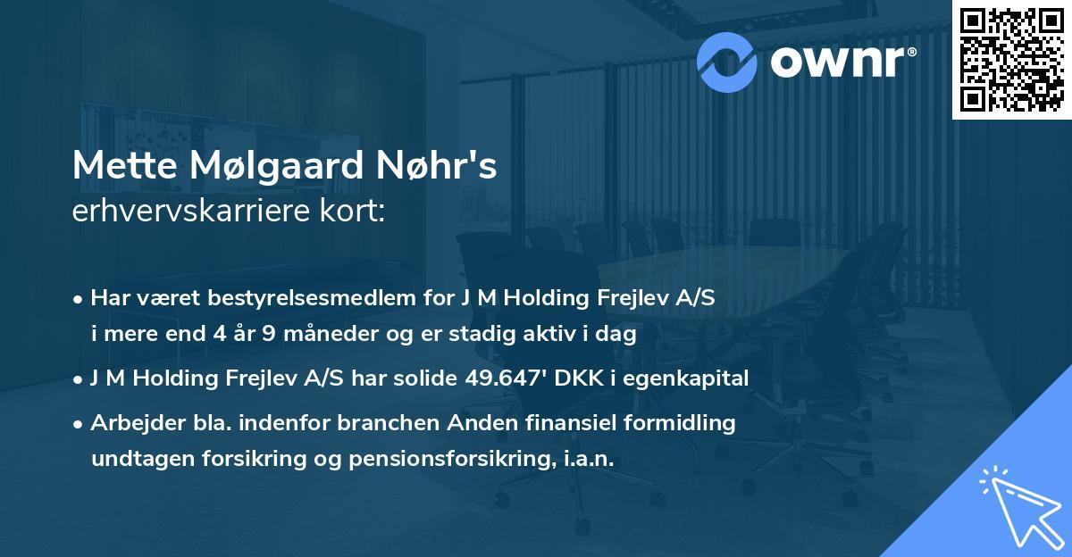 Mette Mølgaard Nøhr's erhvervskarriere kort