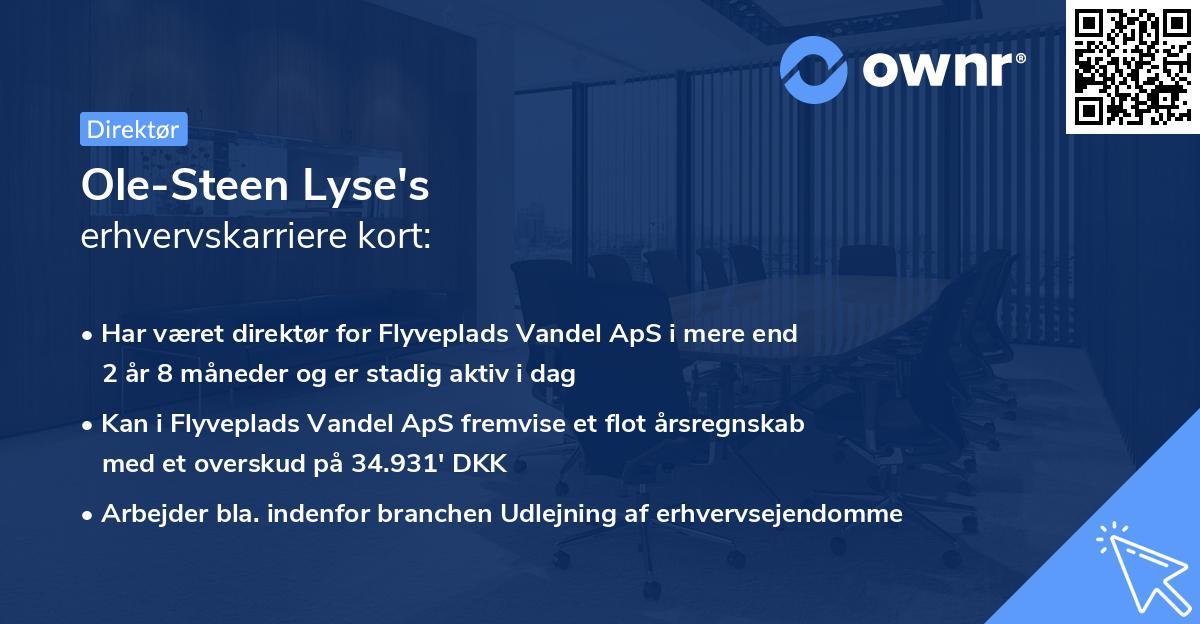 Ole-Steen Lyse's erhvervskarriere kort