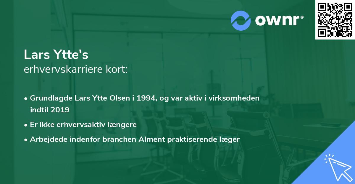 Lars Ytte's erhvervskarriere kort