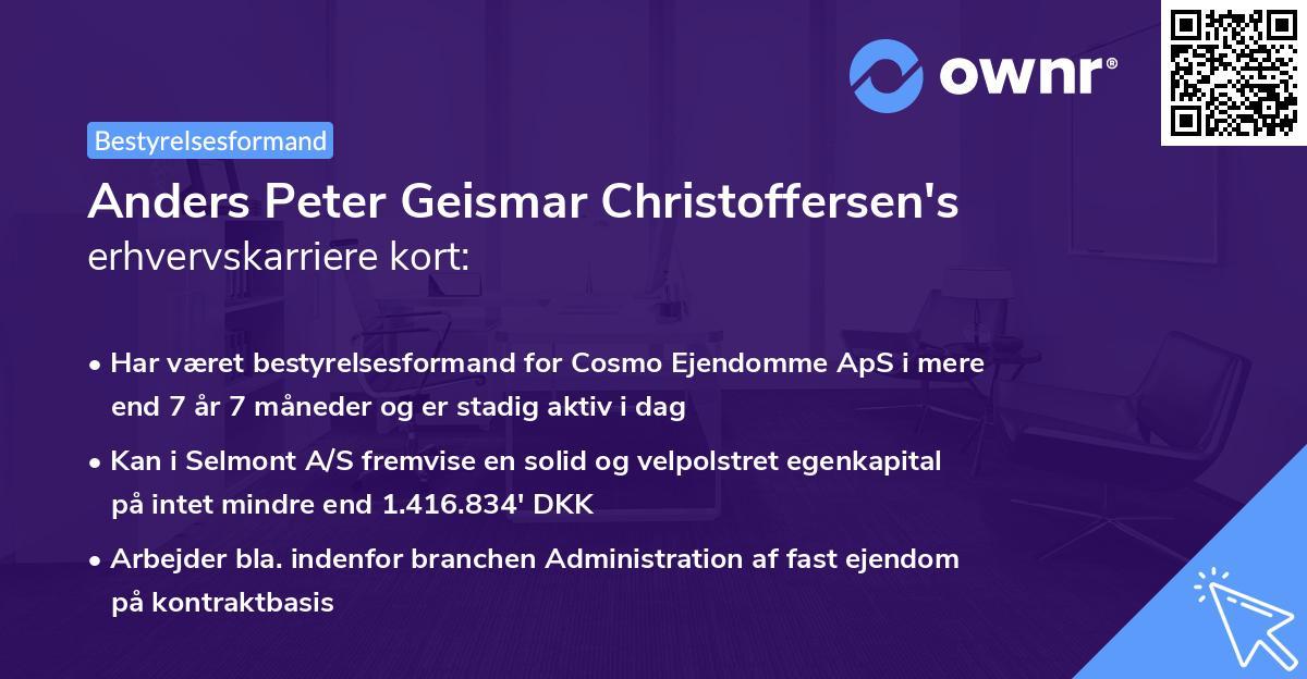 Anders Peter Geismar Christoffersen's erhvervskarriere kort