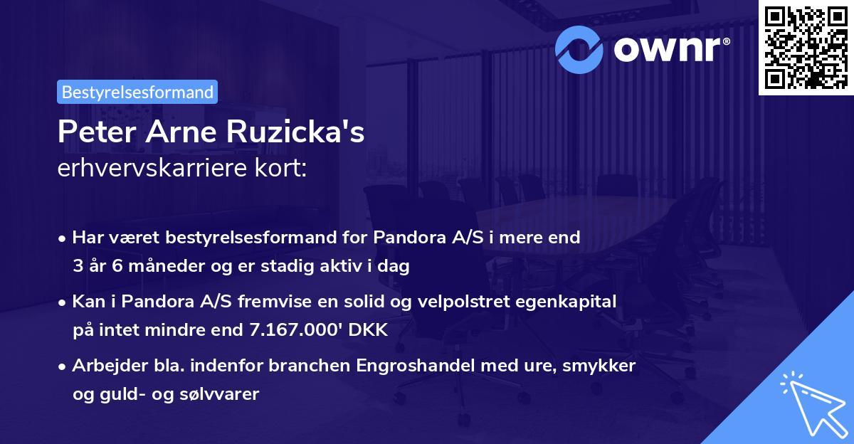 Peter Arne Ruzicka's erhvervskarriere kort