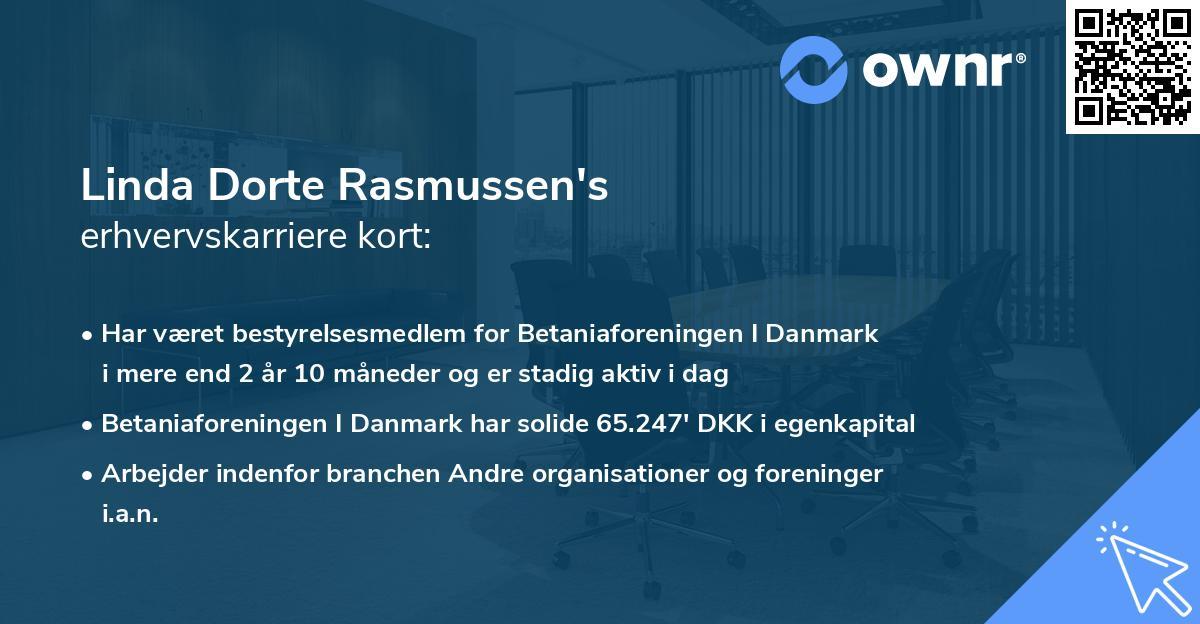 Linda Dorte Rasmussen's erhvervskarriere kort