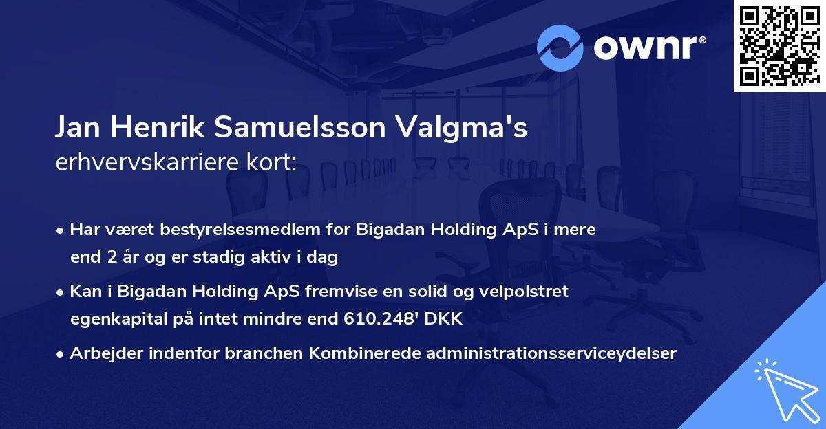 Jan Henrik Samuelsson Valgma's erhvervskarriere kort